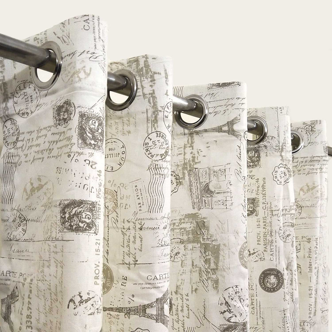 Post Card Extra Wide Duck Cotton Curtain