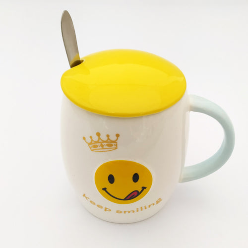 Keep Smiling  Emoji Ceramic Mug with Lid and Spoon