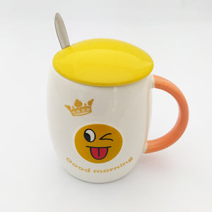 Good Morning Emoji Ceramic Mug with Lid and Spoon