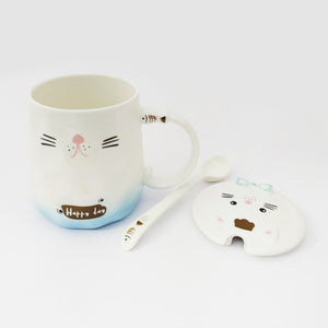Kitty Ceramic Mug with Lid & Ceramic Spoon Sky Blue