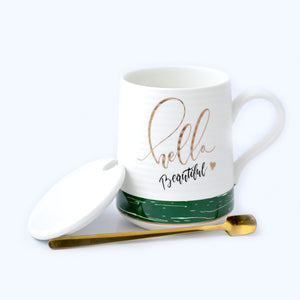 Hello Beautiful Ceramic Mug with Lid & Metallic Spoon