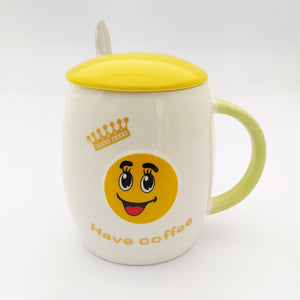 Have A Coffee Ceramic Mug with Lid and Spoon