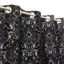 Thick Viscose Curtain Black & Silver