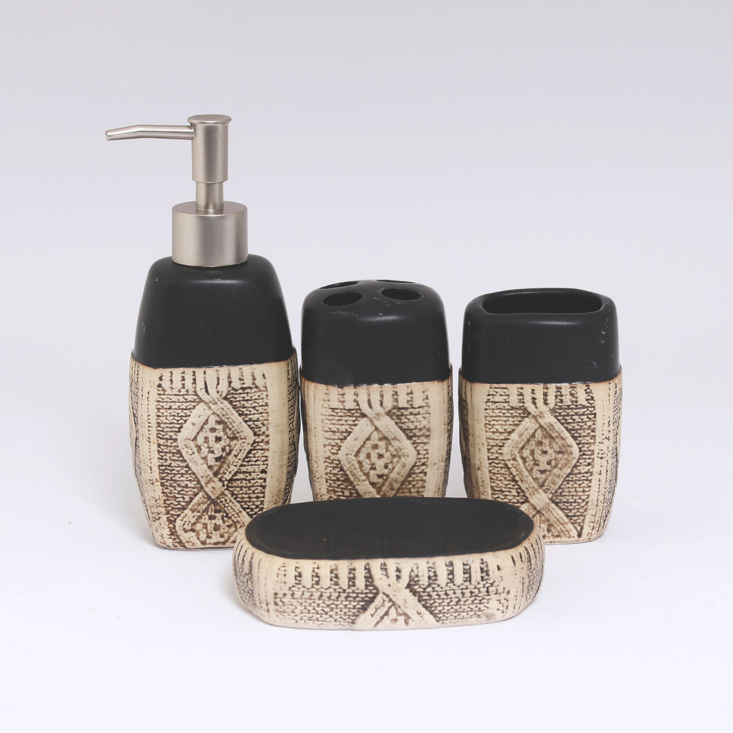 Brown Handicraft Ceramic Bath Set