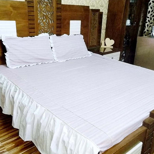 Frilled King Size Bed Sheet With Two Pillow Cases
