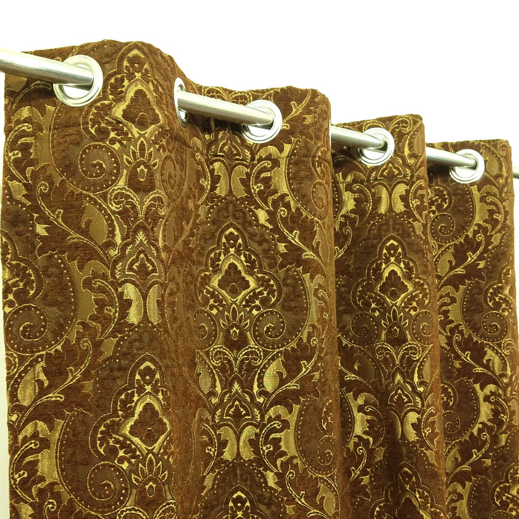 Thick Viscose Curtain Brown & Gold