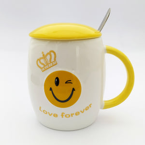 Love Forever  Emoji Ceramic Mug with Lid and Spoon