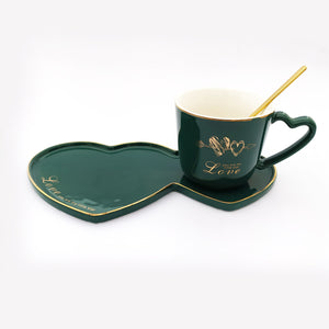 Love Ceramic Mug with Serving Plate and Spoon Green
