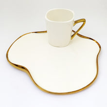 Mug and Serving Plate with Golden Outline