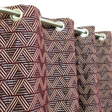 Thick Viscose Curtain Maroon Geometric