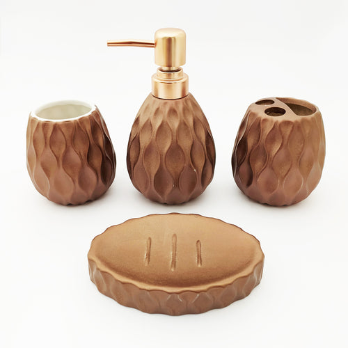 Wavy Shine Brown Bath Set