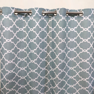 White Motif Muted Green - Duck Cotton Curtain