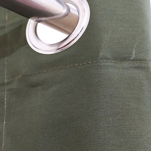 Plain Army Green Denim Cotton Curtain Single Panel