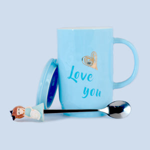 Love You Ceramic Mug with Lid & Metallic Spoon