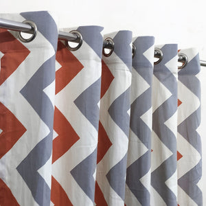 Multi Zig Zag Duck Cotton Curtain Extra Wide