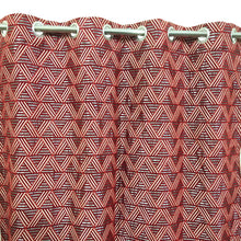 Thick Viscose Curtain Red Geometric