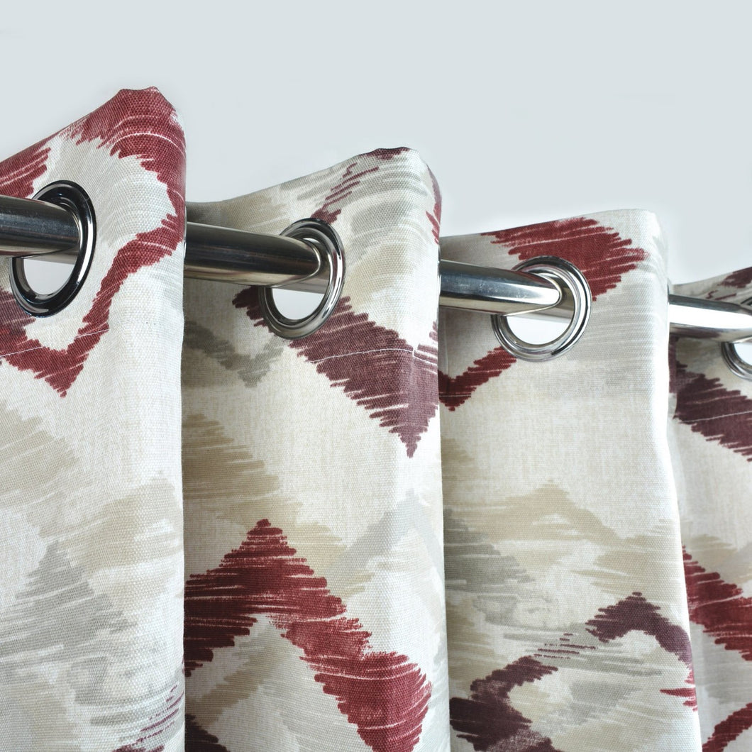 Red Geomatric - Duck Cotton Curtain