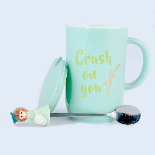 Crush on you Ceramic Mug with Lid & Metallic Spoon