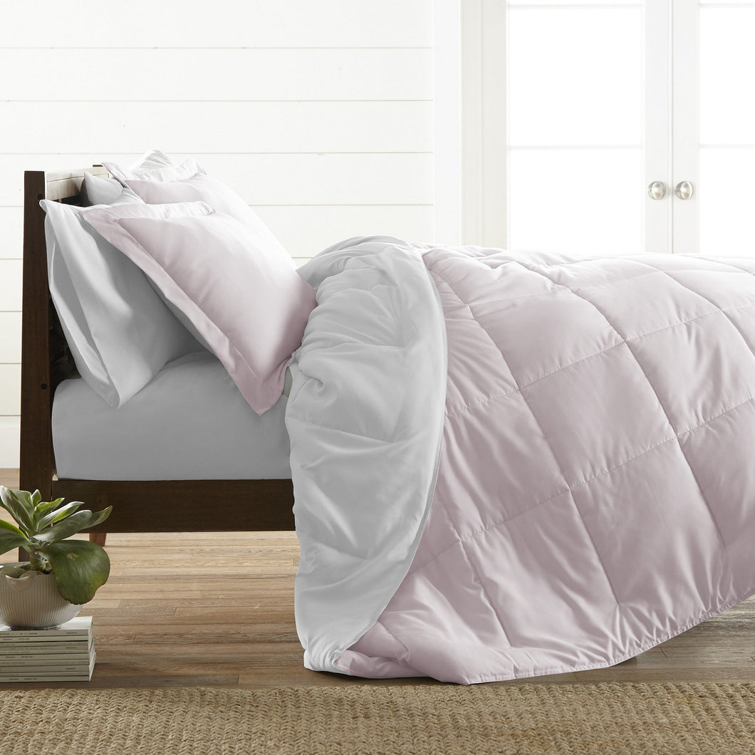 All Season Percale Reversible Comforter/Quilted Set Pink 6 PCS