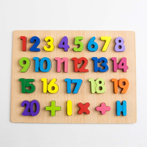 Wooden Numerical Shape Tray 1 to 20 With Knobs