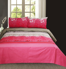 Pink Multi Stripes King Size Bed Sheet With Two Pillow Cases