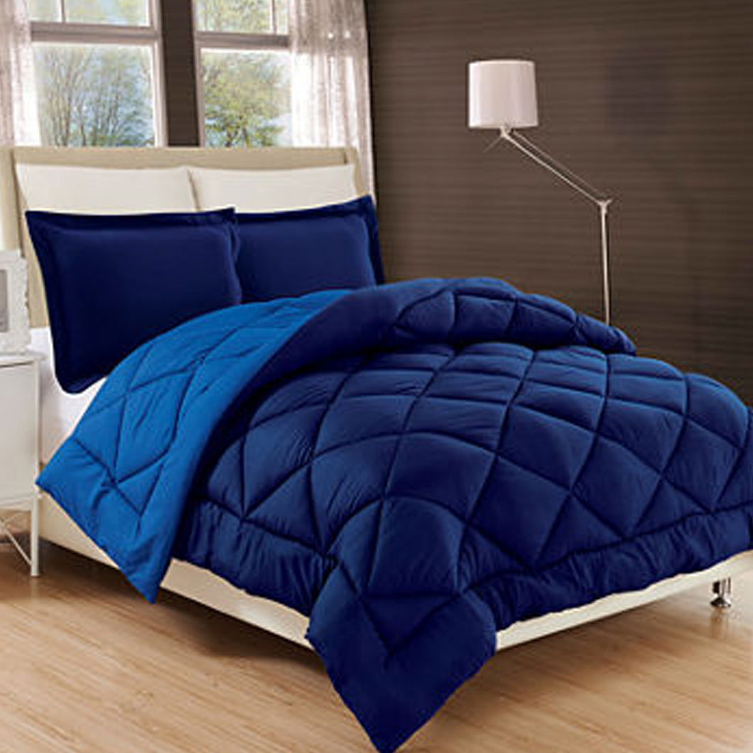 (Summer) 6 PCS Double | 4 PCS Single SATIN COMFORTER SET - Dark Light Blue