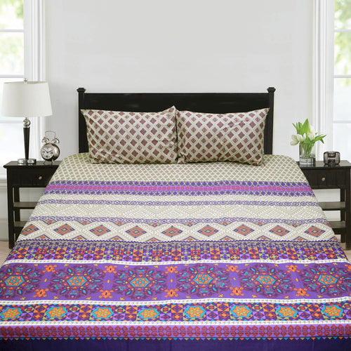Traditional Purple Motif Cotton Bed Sheet