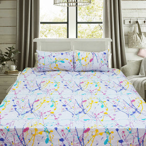 Action Paint Bed Sheet Single with 1 Pillow Case