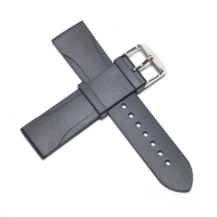 22mm Natural Rubber Strap, Black - Janis Trading