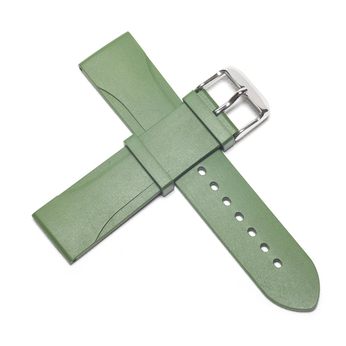22mm Natural Rubber Strap, Olive Green - NTH Watches