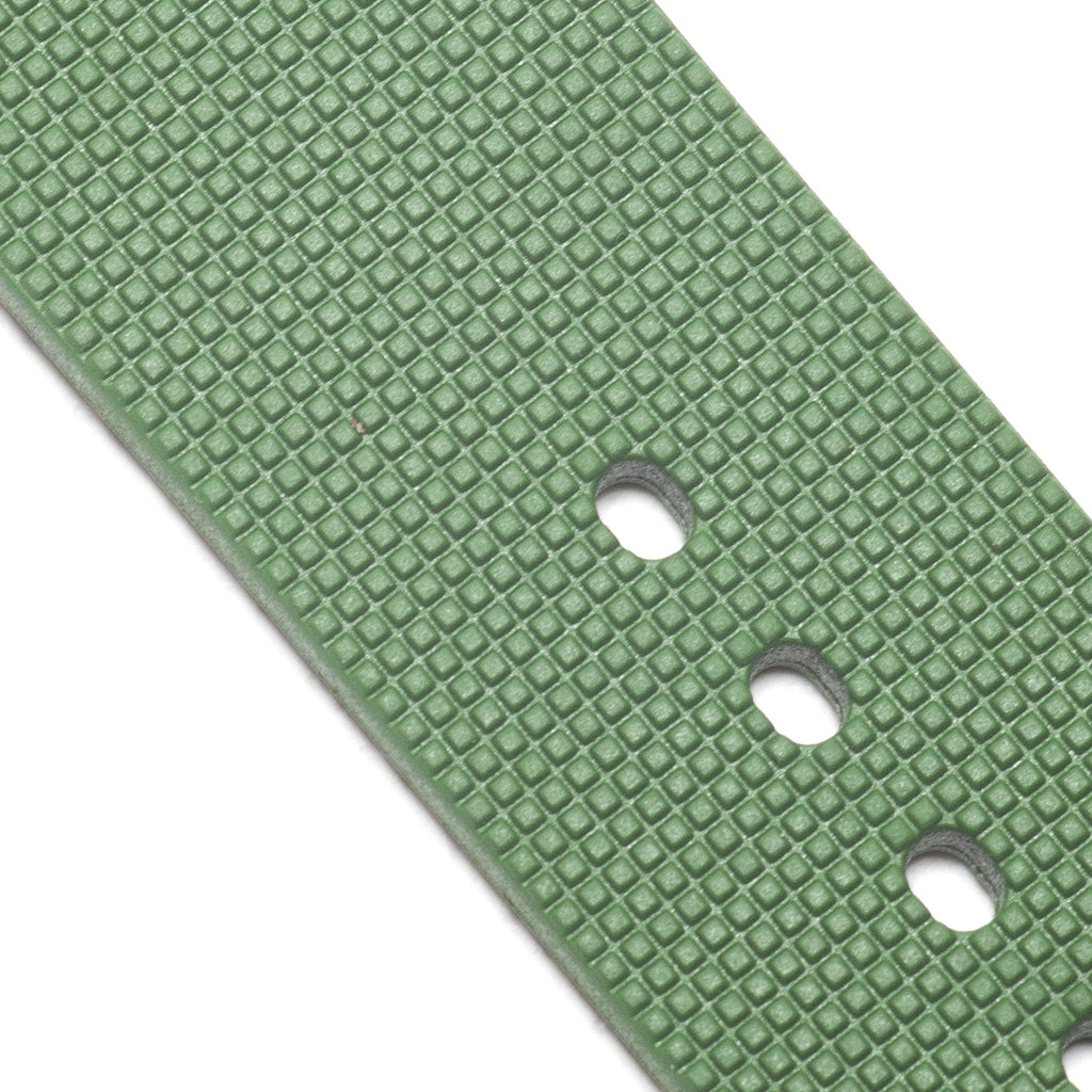 22mm Natural Rubber Strap, Olive Green - Janis Trading