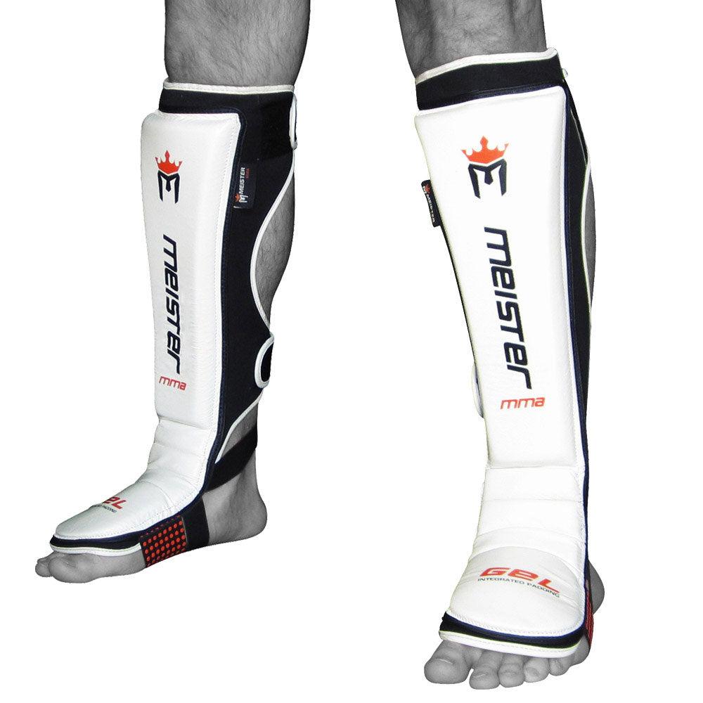 Meister EDGE Leather Shin Guards w/ Gel Padding (Pair) - White - Seventh Sin Fitness