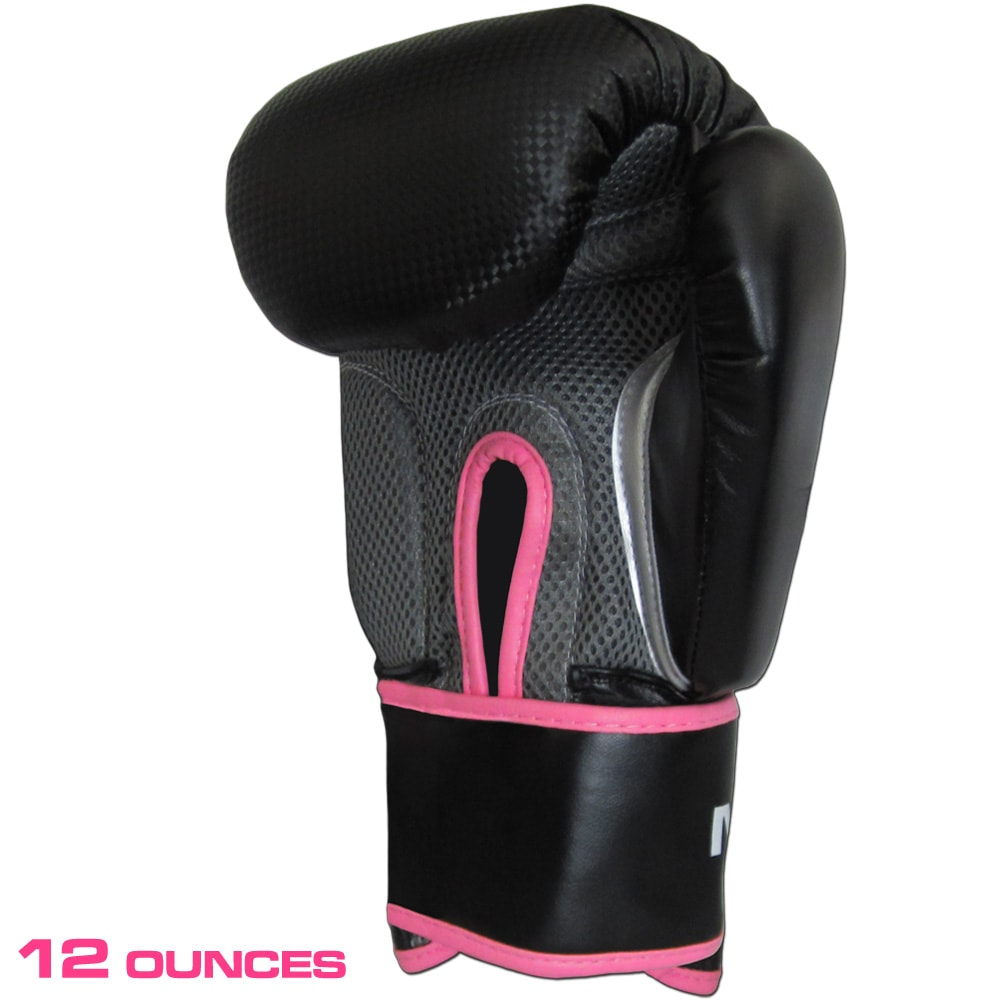 12 Ounce Meister Boxing Gloves for Women & Youth - Black/Pink - Seventh Sin Fitness