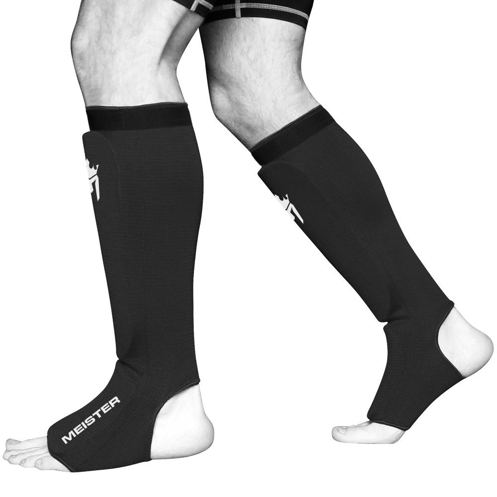 Meister Elastic Cloth Shin & Instep Padded Guards (Pair) - Black - Seventh Sin Fitness