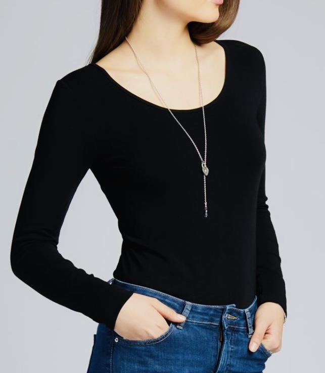 C'est Moi Long Sleeve Scoop Neck Bamboo Top