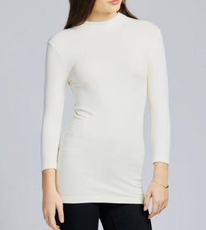 C'est Moi 3/4 Sleeve Mock Neck Bamboo Top