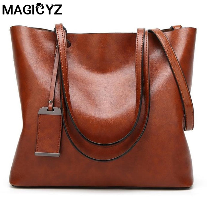 MAGICYZ Big Casual Tote Oblique Crossbody Soft PU Leather