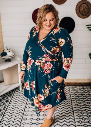 Elle - Teal Floral Surplus Dress