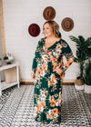 Nina - Hunter Green Floral Surplus Maxi Dress