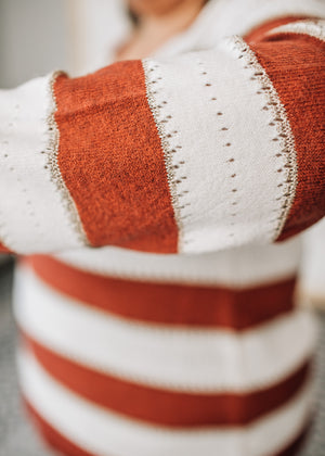 Louisa - Rust and Ivory Striped Sweater