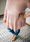 Vera - Long Sleeve Tiered Ruffle Top Mauve