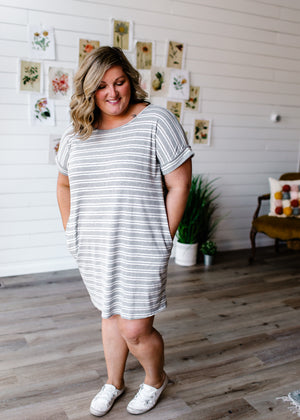 Carmen - Heather Grey and White Striped Dress