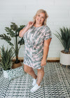 Sara- Grey Gathered Waist Tie Dye Dress
