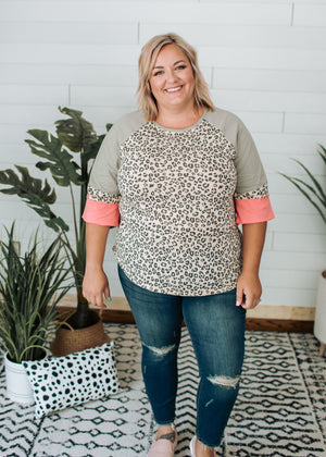 Madison - Animal Print Color Block Sleeve Top