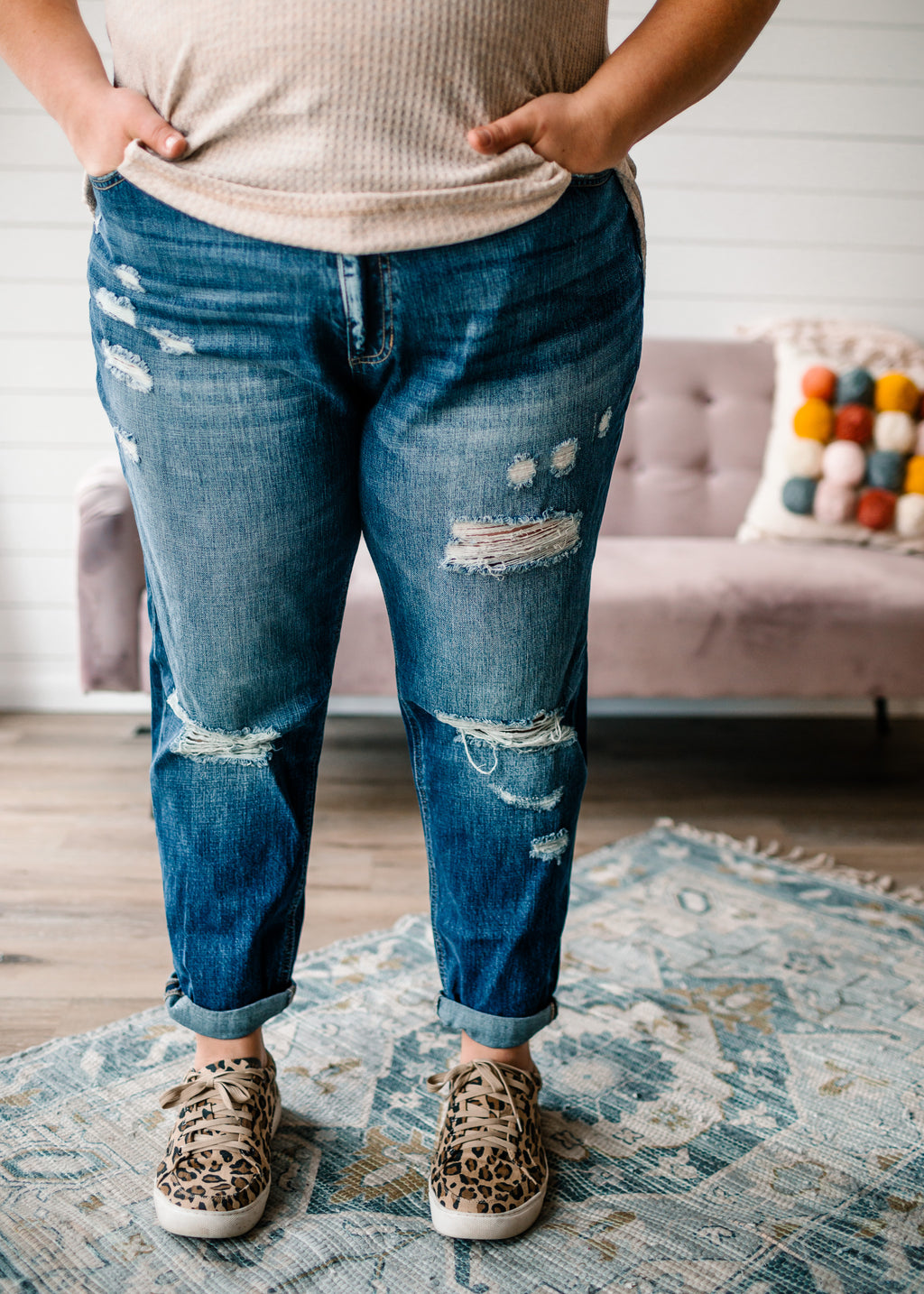 Beau- Distressed Girlfriend Jean