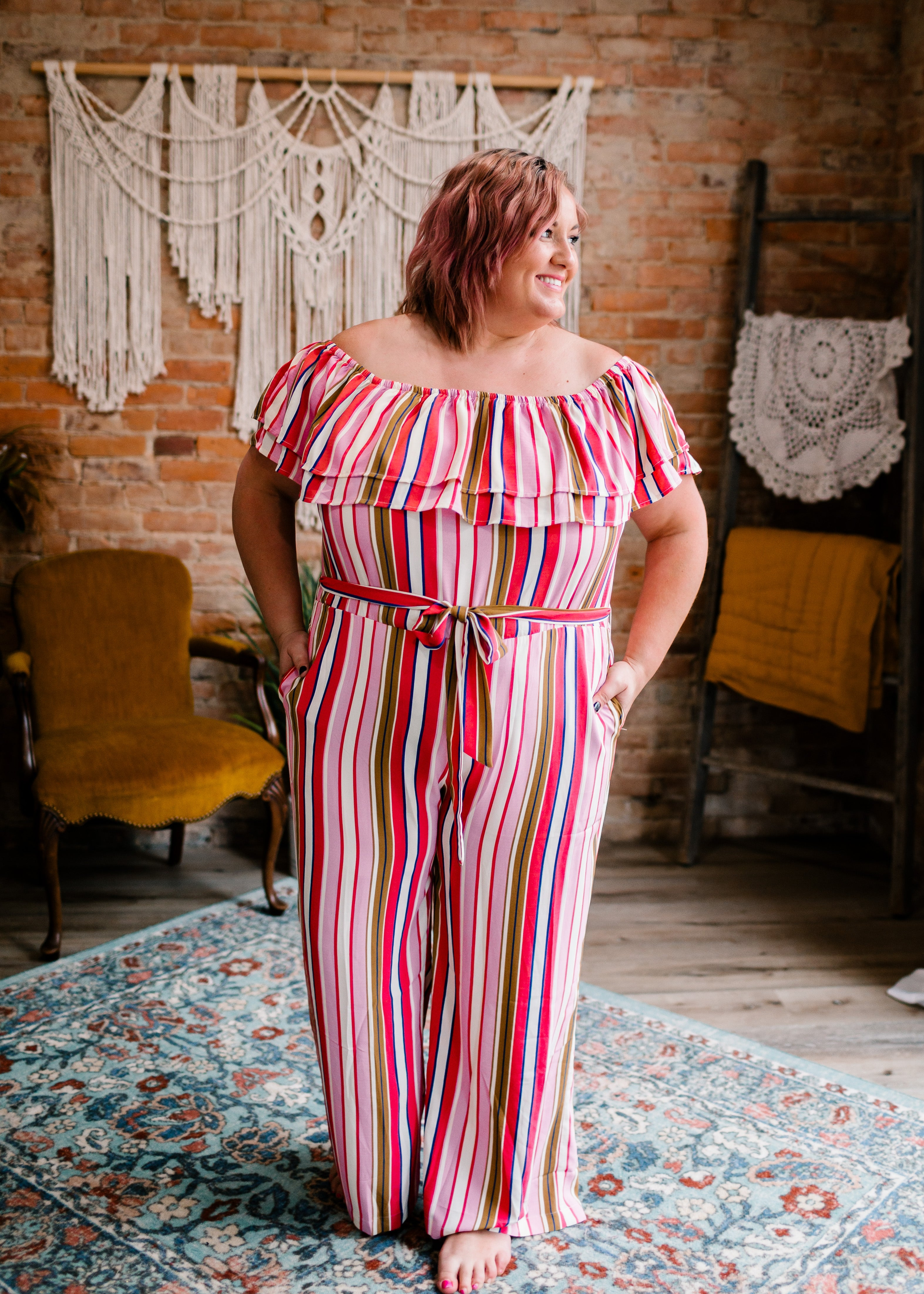 Sammy - Multi-Colored Striped Off-Shoulder Jumpsuit