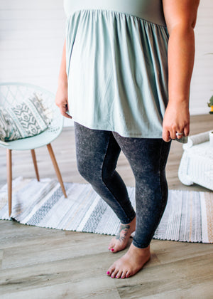 Rock This Way- Mineral Wash Leggings Charcoal