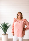 Anna - Ruffle Long Sleeve Top Blush