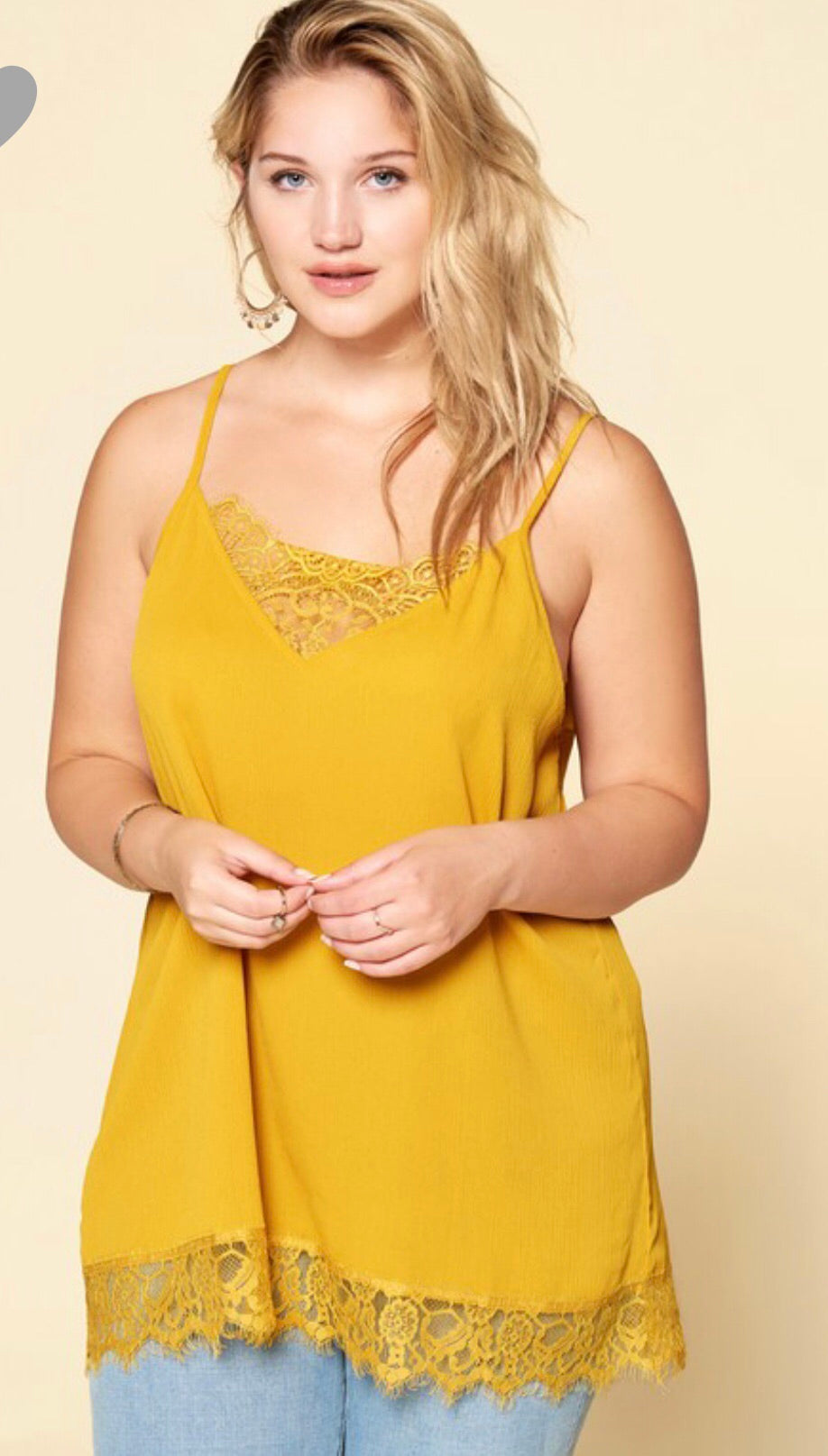 Lace Cami With Adjustable Straps - Mustard