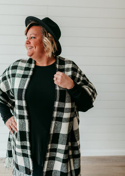 Haley - Black and White Plaid Sweater Poncho